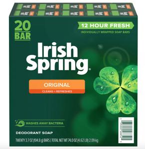 20 Bar Irish Spring Original Deodorant Soap (3.7 oz. each) - Invigorating Scent