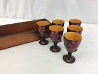Vintage Hand Painted Shot Glass and Serving Tray