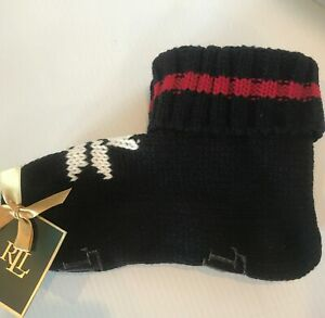 Ralph Lauren Knit Bootie Chalet Slippers Women's Black Snowflake