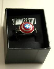 Marvel Comics Captain America Logo Avenger Stainless Steel Ring New NOS Box 9.75