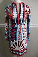 Tracy Negoshian Women's Colorful Geometric Print Shift Dress Size S (DR100