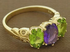 R097 Superb 9K Solid Yellow Gold NATURAL Amethyst & Peridot Trilogy Ring size O