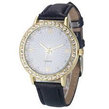 Fashion Women's Diamond Leather Stainless Steel Quartz Wrist Watch For Girl Gift