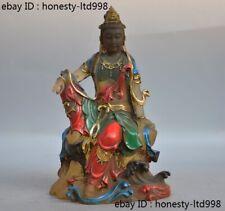 Tibetan Buddhism Glass Glazed Painted Kwan-yin Guanyin Bodhisattva Buddha statue