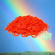 600 pc Orange Rubber Band & S-Clips Loom Art Craft Kids Bracelet Refill Pack