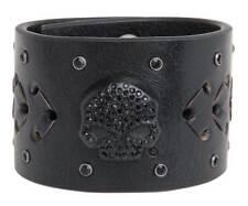 Harley-Davidson Women's Embellished Skull Darkside Cuff, Black HDWCU11069-BLK