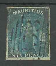 MAURITIUS SG32 THE 1859-61  6d GREEN FINE USED WITH 3+ MARGINS CAT £55