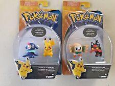 Tomy Pokemon 2 pack Figures  POPPLIO Vs PICKACHU ROWLET vs LITTEN LOT USA Seller