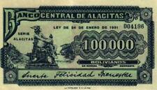 02 Bolivia / Bolivien 100000 Bolivianos 1951 Banco Centrale de Alacitas
