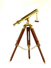 "Brass Telescope On a Wooden Tripod Stand 10"" Tube Length  ~ Maritime"
