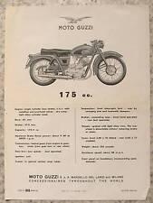 MOTO GUZZI 175cc Motorcycle Specification Sheet 1957