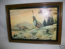 RUANE MANNING Bird Quail ? Litho Picture in Wood Frame