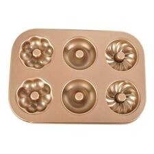 Ihanini New Carbon steel donut mode nonstick gold color 6 holes donut baking pan