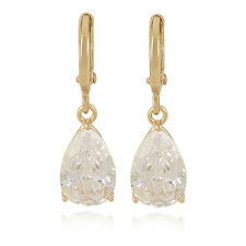 Authentic 9K Solid Gold Filled CZ Tear Drop Dangle Earrings For Women Girl Gift