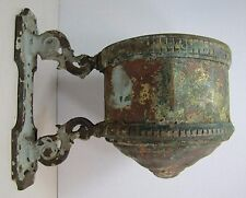 Antique Oil Lamp Wall Mount Bracket unique early bronze copper ornate detailing