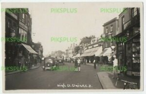 OLD POSTCARD STAINES HIGH STREET MIDDLESEX CARS ETC REAL PHOTO VINTAGE 1930S