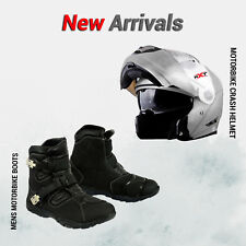 Full Face Flip UP Motorbike Helmet Motorcycle Crash Leather Racing Shoes Boots