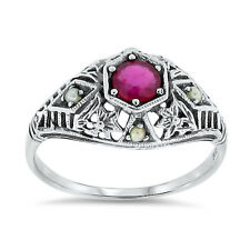 Sterling Silver Ring Size 8.75, #30 Genuine Ruby Antique Filigree Style .925