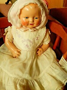 """Vintage Horsman Baby Dimple Composition Doll 20"""" Made by EIH Co 1928"""