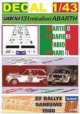 "DECAL 1/43 FIAT 131 ABARTH ""ICARUS"" A.VUDAFIERI R.SANREMO 1980 DnF (01)"