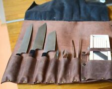 Vintage Tan 100% Real Leather Chef Knife Roll