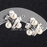 B1-E812 Fashion White Pearl Stud Earrings 18KGP CZ Rhinestone Crystal