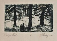 unleserlich signiert - Kleine Waldlandschaft - Radierung - o. J.