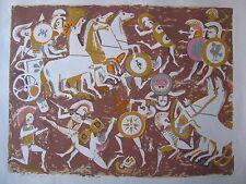 """CEDRIC FLOWER  AUSTRALIAN LARGE SCREENPRINT """"GREEKS AND TROJANS"""" 1968 LTD ED"""