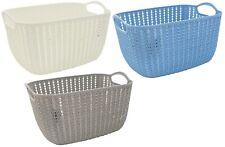 Rattan Plastic Storage Caddy Baskets With Handle Easy Cupboard Shelf Tidy