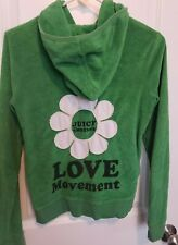 Juicy Couture Women Green Track Jacket Cute Flower Graphic Large Excellent used