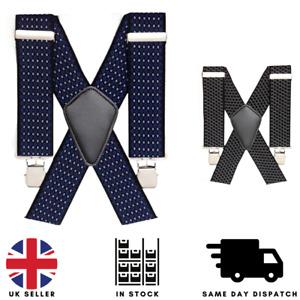 Heavy Duty Men Braces Adjustable Suspender Elastic 50mm Wide Durable Washable UK