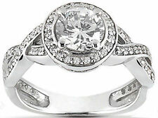 1.38 carat Solitare Round Diamond Halo Engagement Wedding 14k White Gold Ring