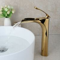 Royal Gold Bathroom Basin Vessel Sink Vanity Mixer Faucet Waterfall Brass Taps