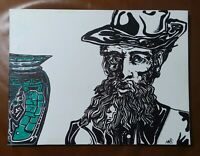 "Original artwork. Pen&ink. Man&Vase. 9""x11"" canvas brd. 2020#MMS, Morgan Sherman"