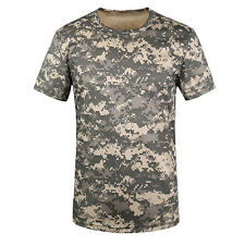 Camouflage T-shirt Men Breathable Sport Camo Tees-acu Green M Shc2