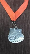"silver soccer medal with red neck ribbon 2"" diameter Marco M1013As"