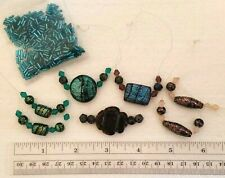 Lot of Glass Dichroic Bead Strands - 7 Strands & Coordinated Glass Bugle Beads