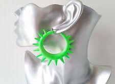 BIG Fab & Funky luminosi al Neon Verde Acrilico Spike Orecchini a Cerchio * Nuova *