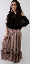 SKIRT ONE SIZE ELASTIC WAIST DRAW STRING beige with elephant embroidery
