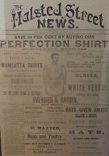 ANTIQUE 1882 VICTORIAN CHICAGO HALSTED ST NEWS  UNDERWEAR ADVERTISING FINE MAN