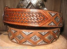 3D GENUINE LEATHER MENS WESTERN  BELT SILVER TONE CONCHO  1 1/2 MAHOGANY SIZE 38