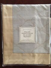 Restoration Hardware Standard Pillow Case Mint Italian Herringbone Jacquard New