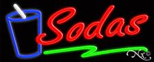 """Brand New """"Sodas"""" 32x13 W/Logo Underlined Neon Sign w/Custom Options 10902"""