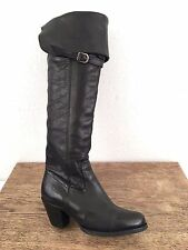 Womens FRYE Sarah Over-the-Knee black leather pirate buckle tall BOOTS sz 6 B