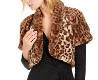 Vince Camuto Womens Jacket Brown Size Medium M Faux-Fur Printed Shrug $108- 286