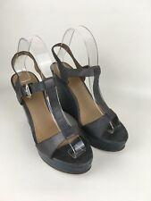 Bertie Dark Green And Grey Strap Wedge Sandals Size 6UK 39EU