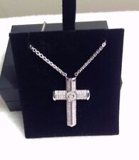 Sterling Silver LARGE CROSS  WHITE SAPPHIRE STRIPES PETRA AZAR Magnetic Clasp #8