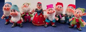 VTG Walt Disney Snow White Seven Dwarfs Plastic Felted Dolls Christmas Ornaments