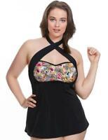2ffe6b1308d Elomi Fly Free 7519 A-Line Strapless Moulded Tankini Top Black New Swimwear  Sz16