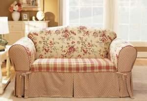 Sure Fit Lexington red floral patchwork print Sofa Cotton Duck 1pc Slipcover